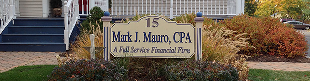 Mark Maura CPA sign on front lawn